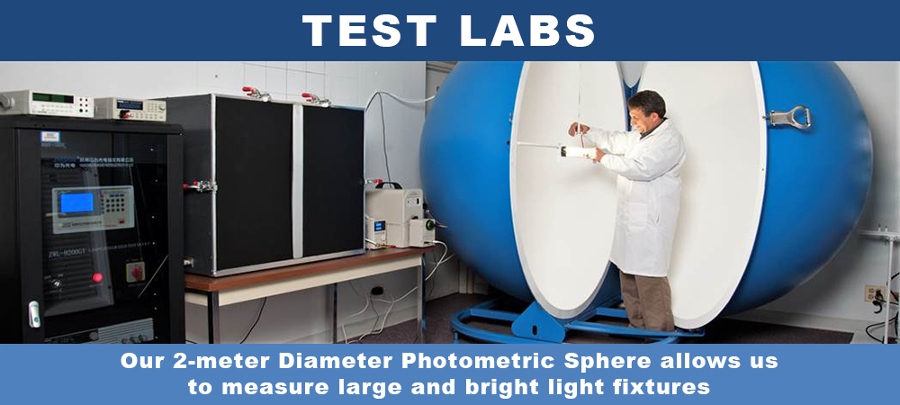Our 2-meter Diameter Photometric Sphere allows us to measure large and bright light fixtures