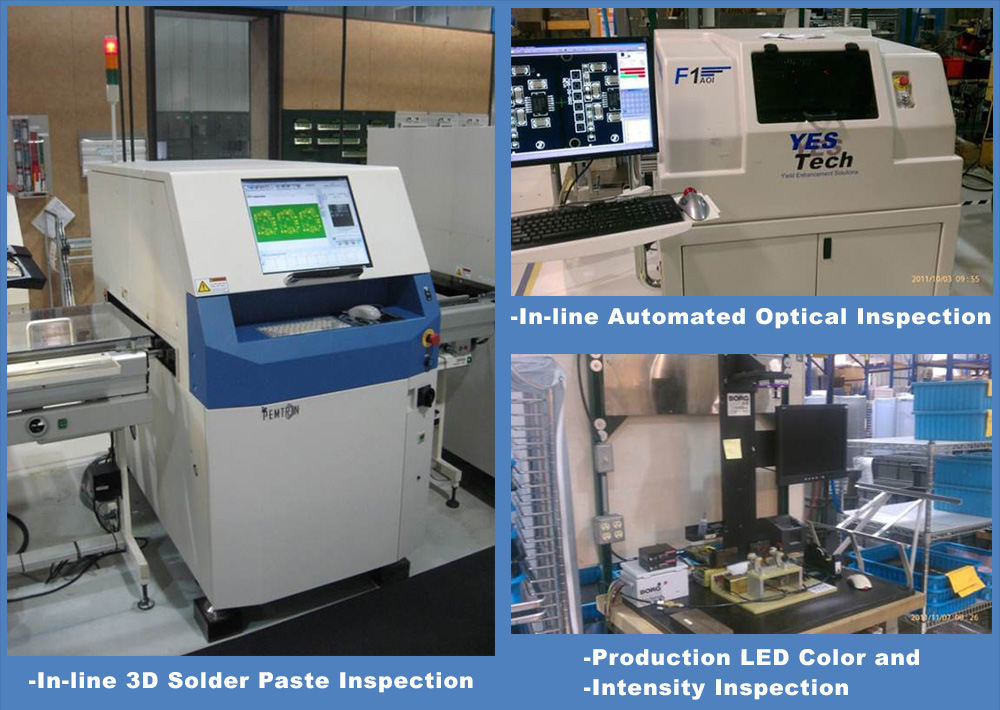 In-line Automated Optical Inpection. In-line 3D Solder Paste Inspection. Production LED Color and Intensity Inspection